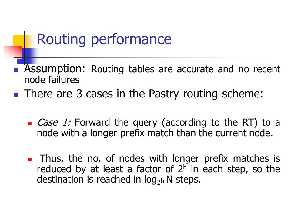 Routing performance Assumption: Routing tables are accurate and no recent node failures. There are 3 cases in the Pastry routing scheme: