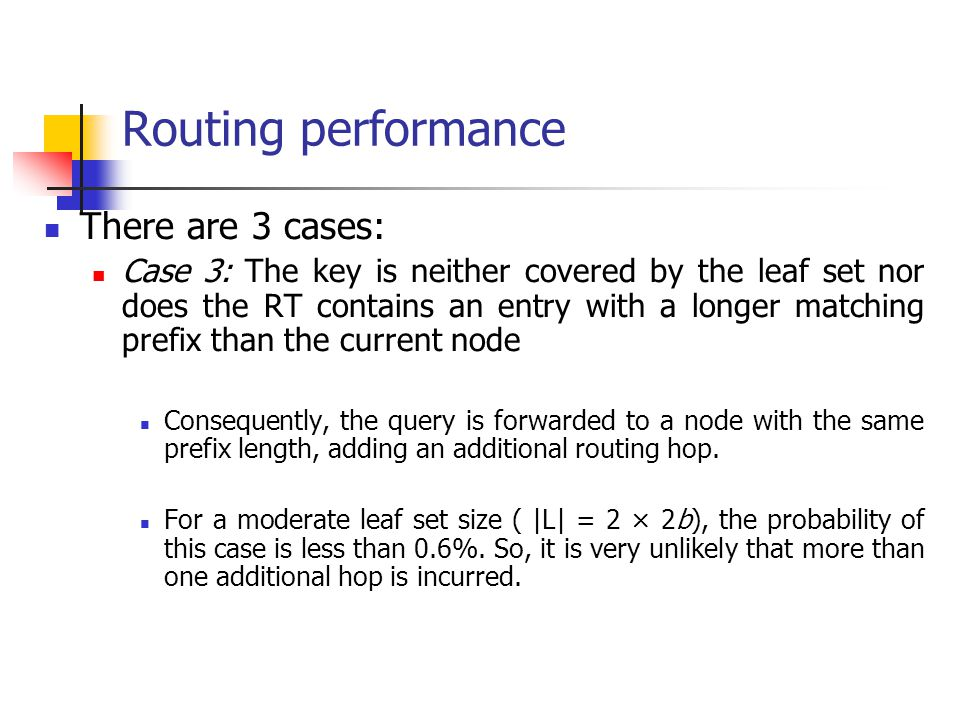 Routing performance There are 3 cases: