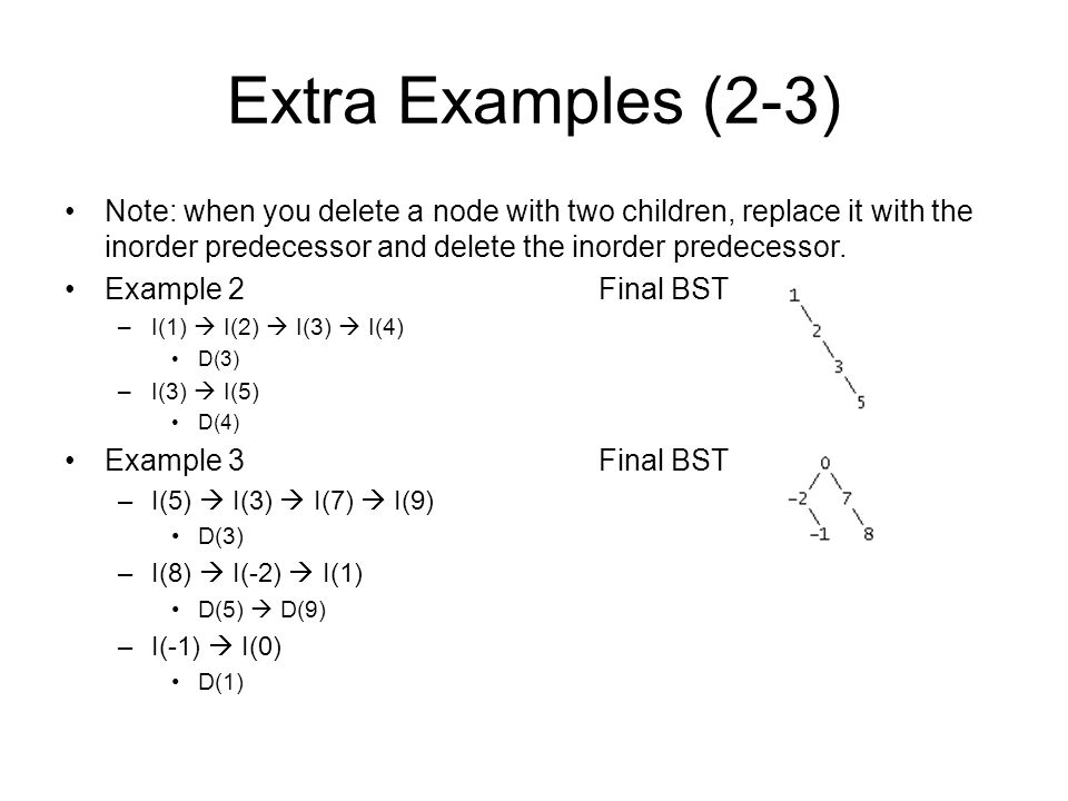Extra Examples (2-3) Note: when you delete a node with two children, replace it with the inorder predecessor and delete the inorder predecessor.