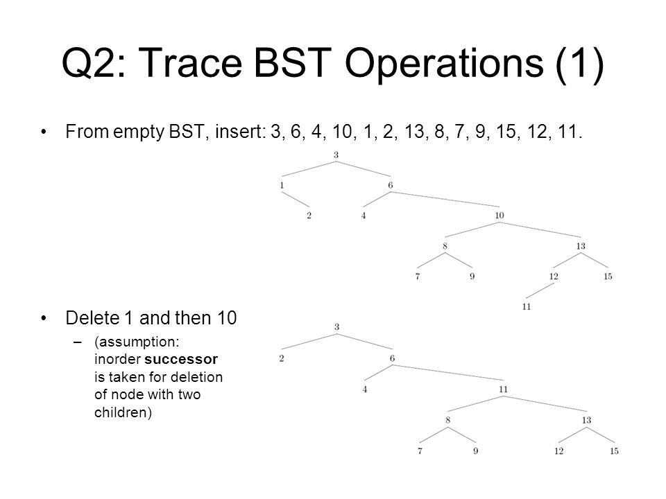 Q2: Trace BST Operations (1)