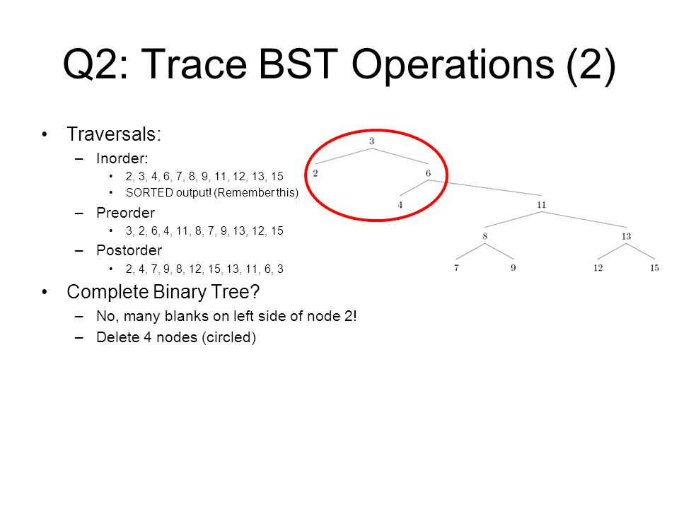 Q2: Trace BST Operations (2)