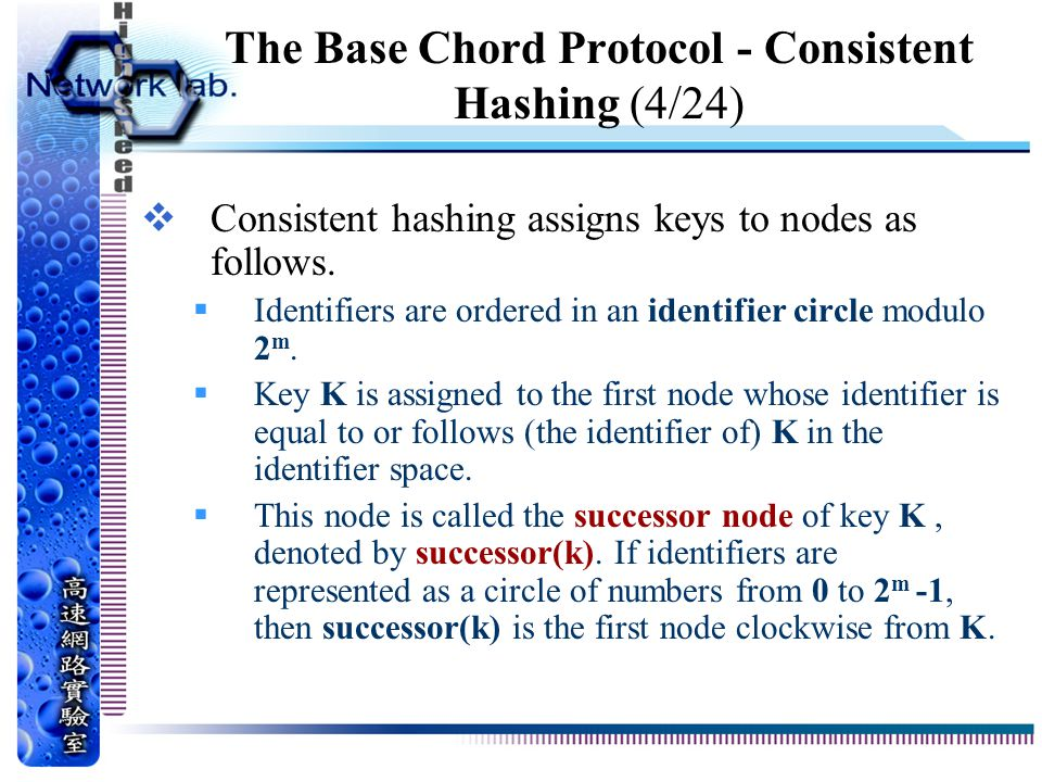 The Base Chord Protocol - Consistent Hashing (4/24)