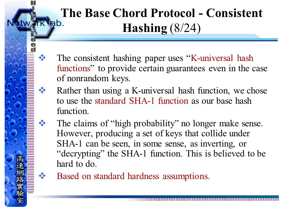 The Base Chord Protocol - Consistent Hashing (8/24)