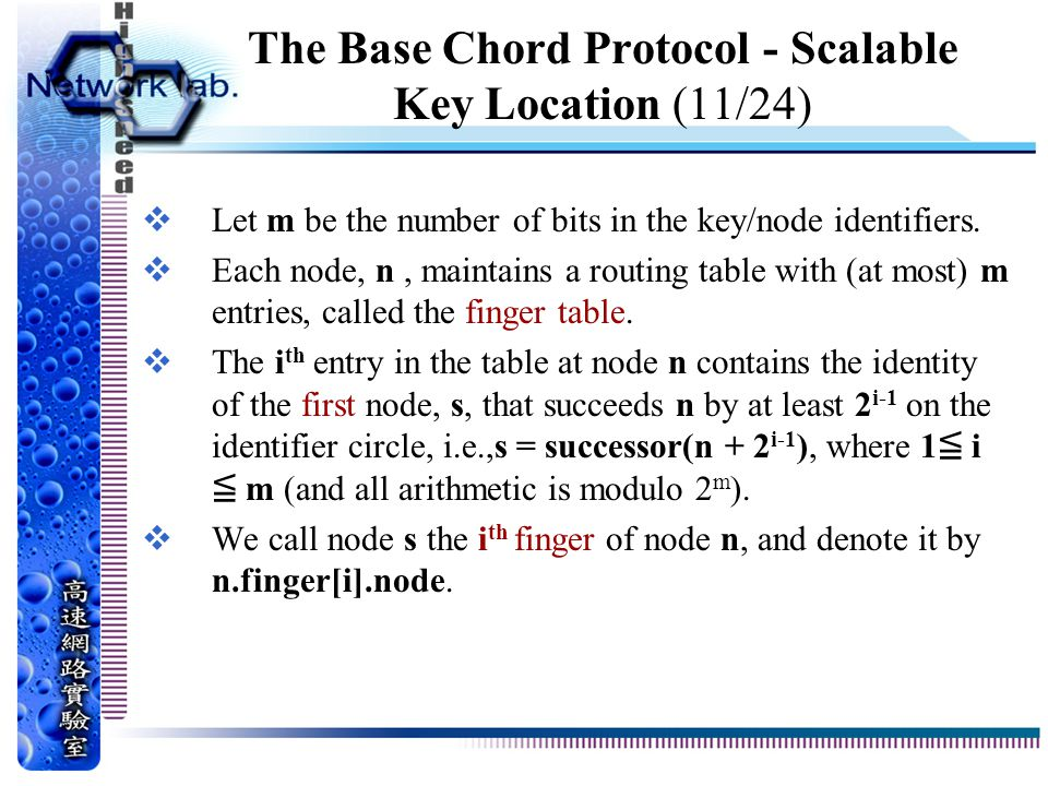 The Base Chord Protocol - Scalable Key Location (11/24)