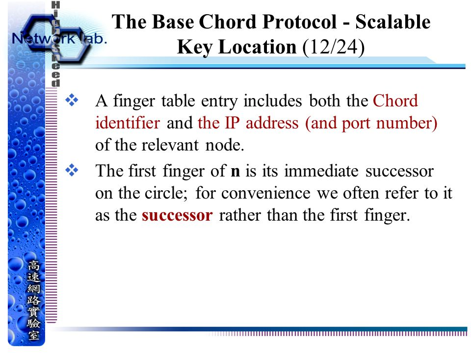 The Base Chord Protocol - Scalable Key Location (12/24)