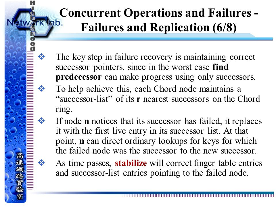 Concurrent Operations and Failures - Failures and Replication (6/8)