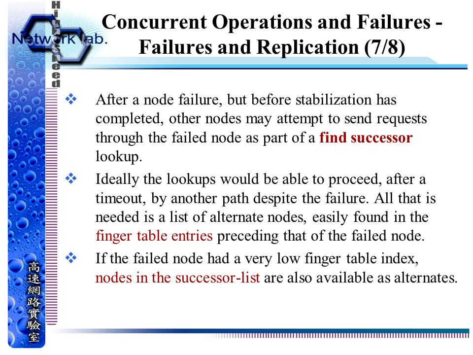 Concurrent Operations and Failures - Failures and Replication (7/8)