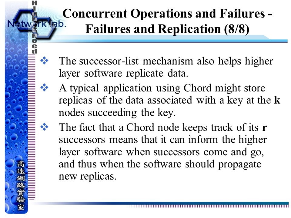 Concurrent Operations and Failures - Failures and Replication (8/8)