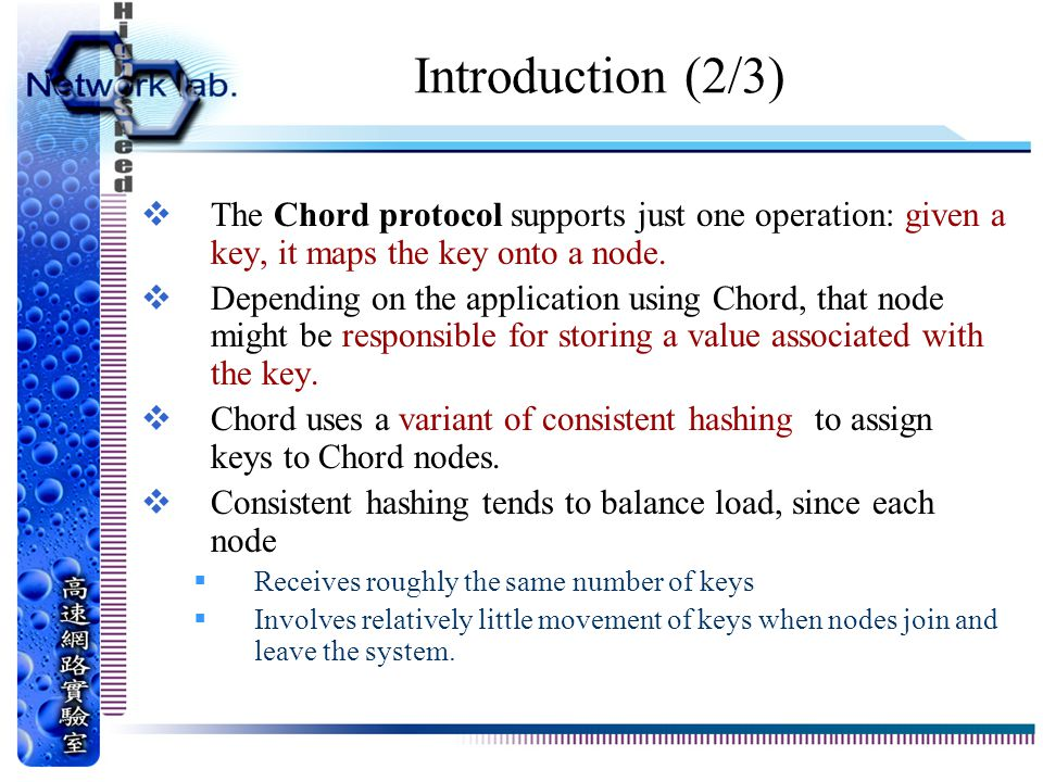 Introduction (2/3) The Chord protocol supports just one operation: given a key, it maps the key onto a node.