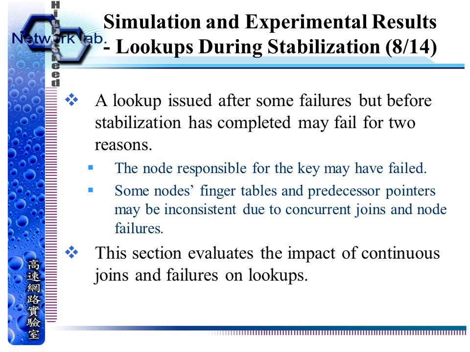 Simulation and Experimental Results - Lookups During Stabilization (8/14)