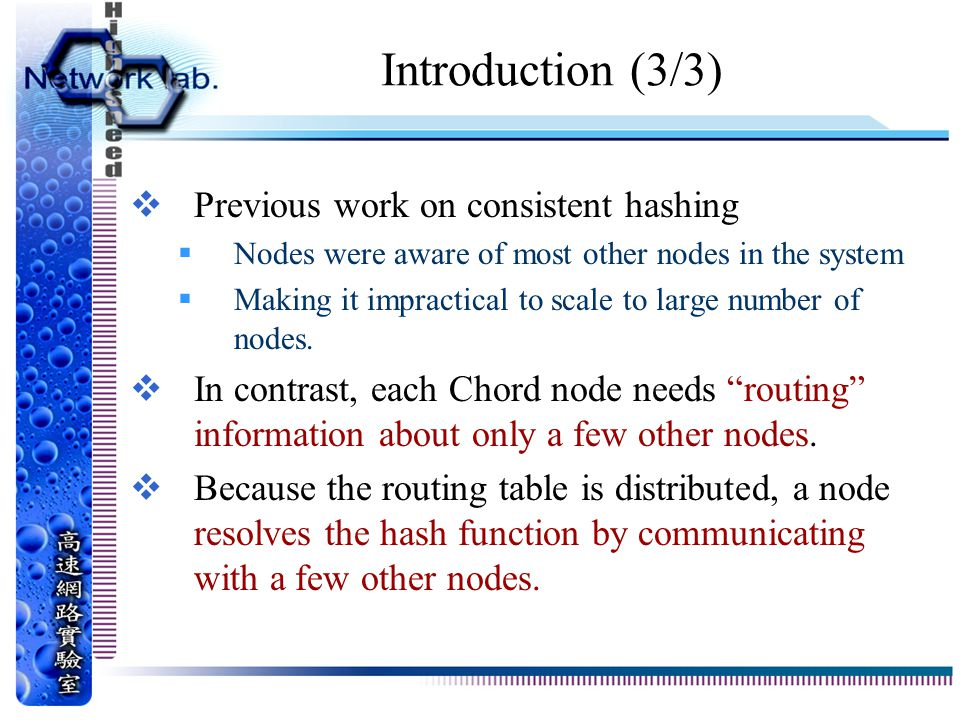 Introduction (3/3) Previous work on consistent hashing