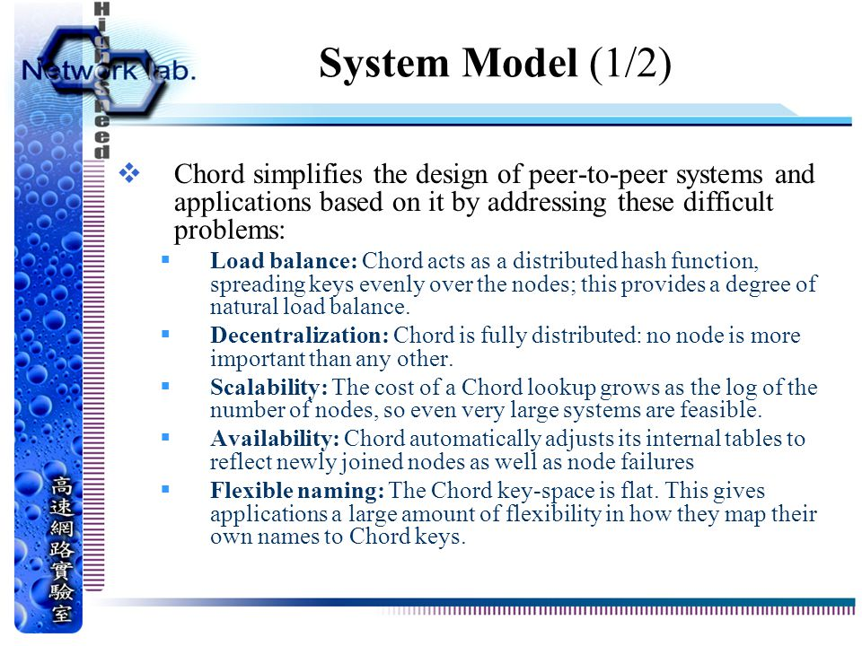 System Model (1/2) Chord simplifies the design of peer-to-peer systems and applications based on it by addressing these difficult problems: