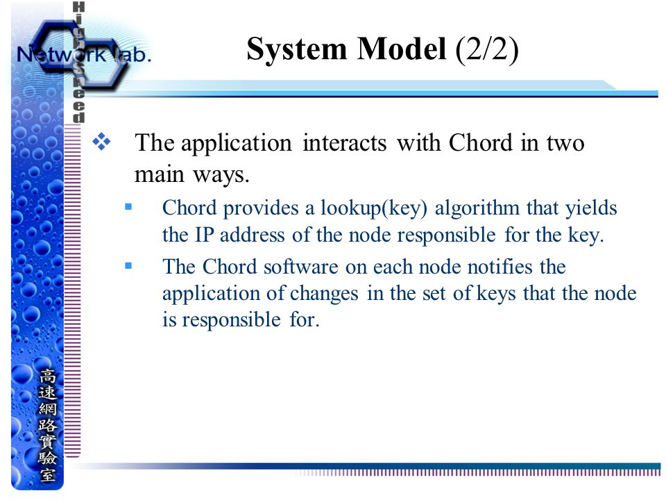 System Model (2/2) The application interacts with Chord in two main ways.