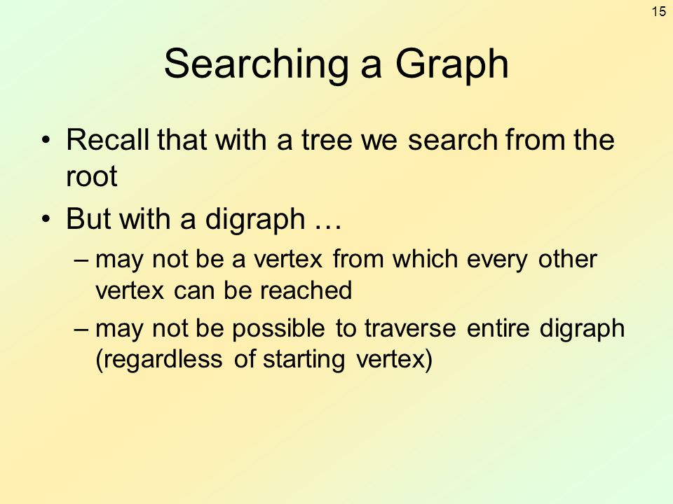 Searching a Graph Recall that with a tree we search from the root