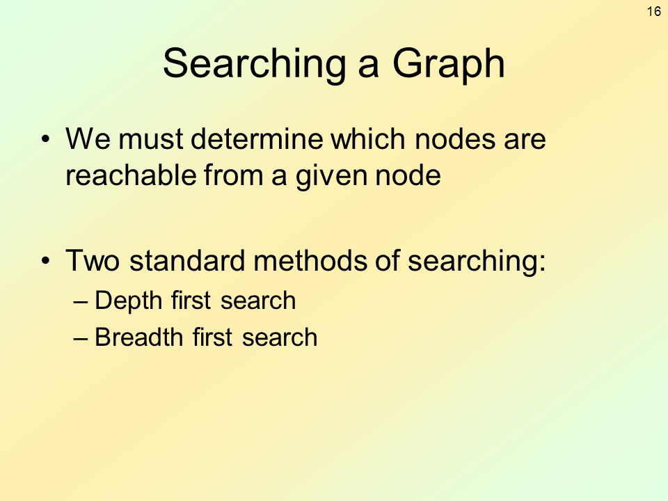 Searching a Graph We must determine which nodes are reachable from a given node. Two standard methods of searching: