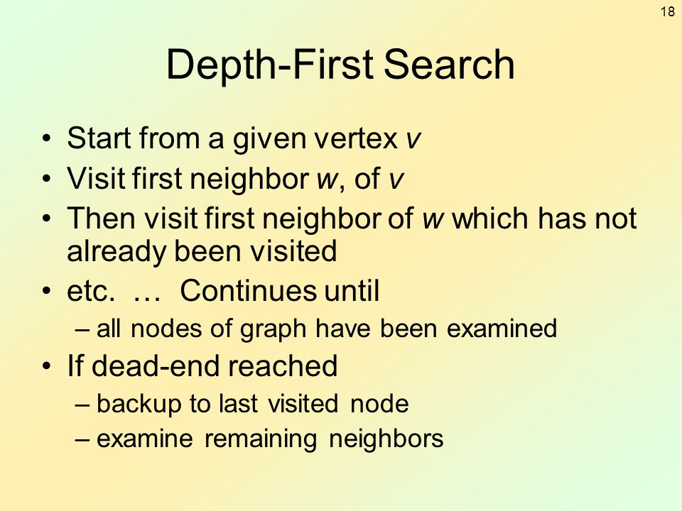 Depth-First Search Start from a given vertex v