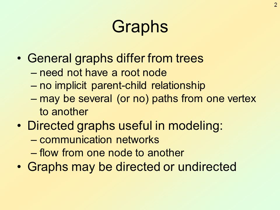 Graphs General graphs differ from trees