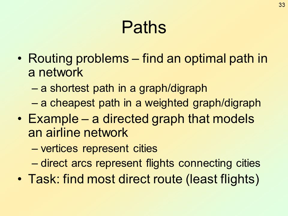 Paths Routing problems – find an optimal path in a network