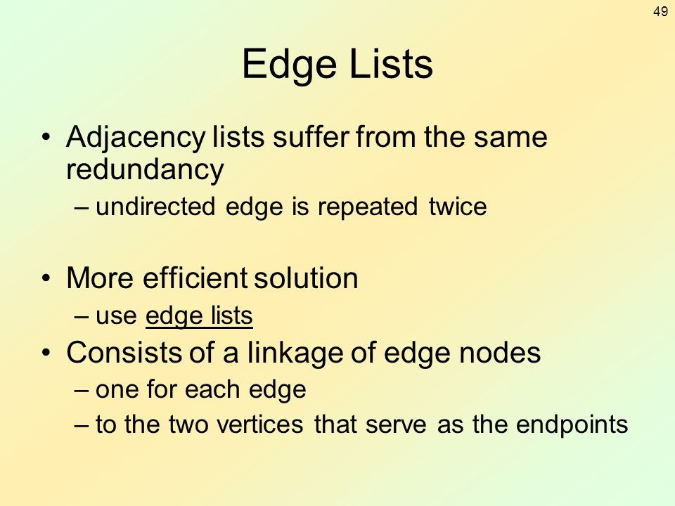 Edge Lists Adjacency lists suffer from the same redundancy