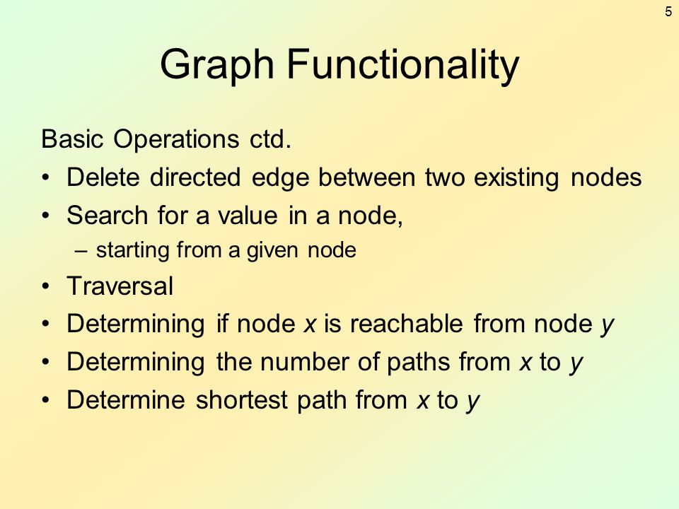 Graph Functionality Basic Operations ctd.
