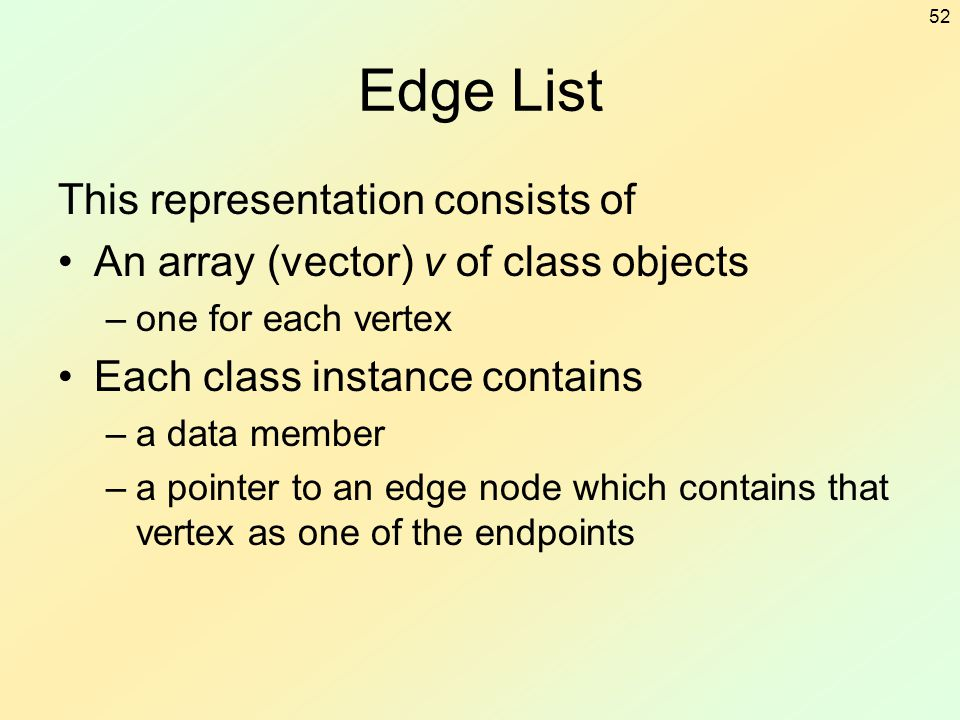 Edge List This representation consists of