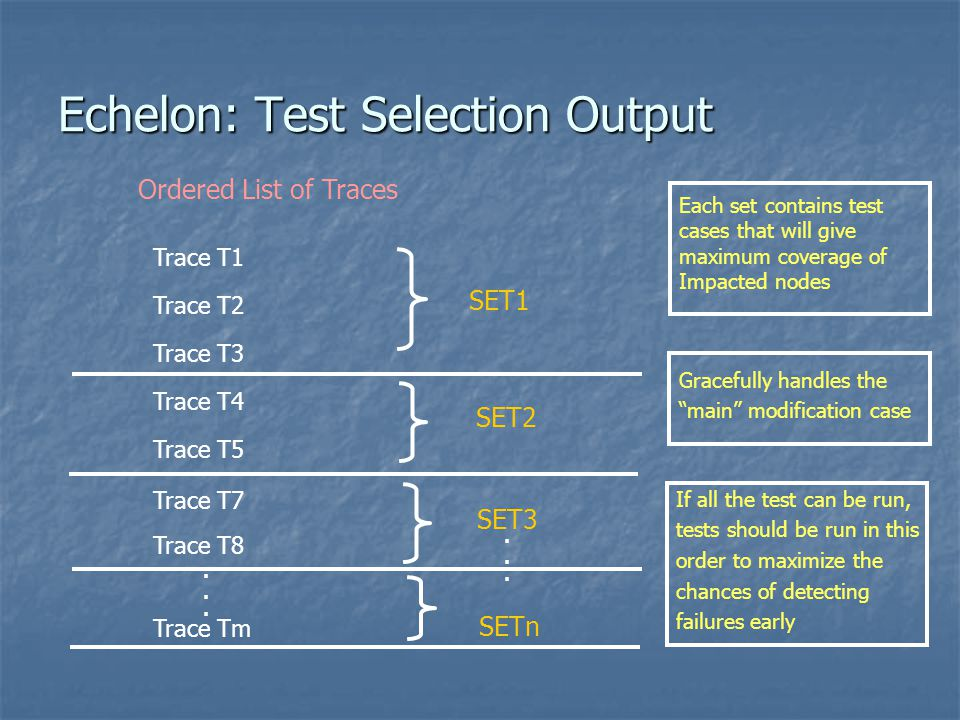 Echelon: Test Selection Output
