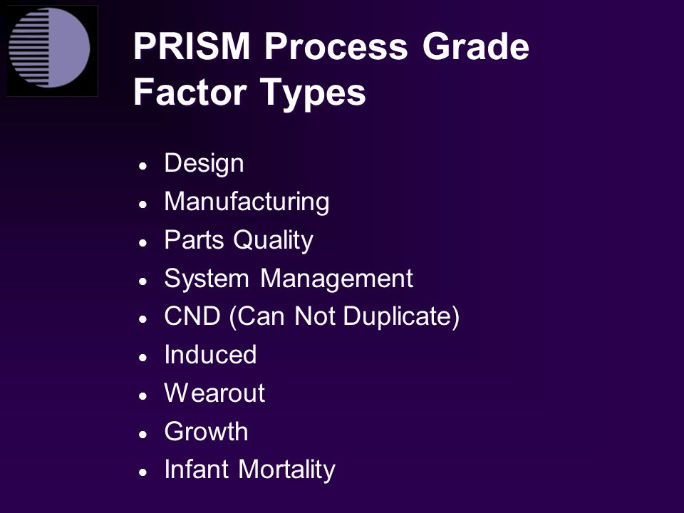 PRISM Process Grade Factor Types