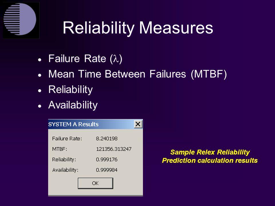 Sample Relex Reliability Prediction calculation results
