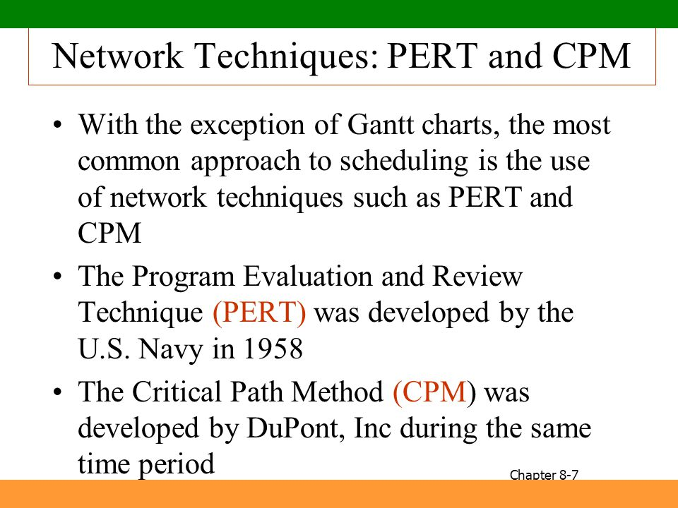 Network Techniques: PERT and CPM
