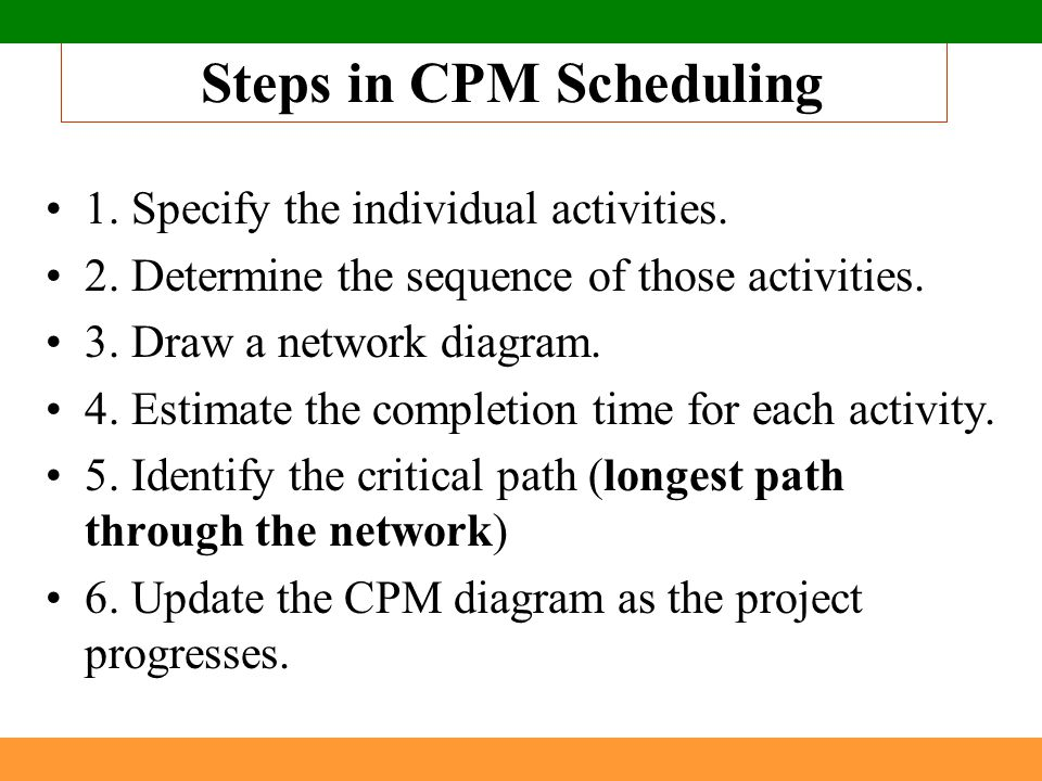 Steps in CPM Scheduling