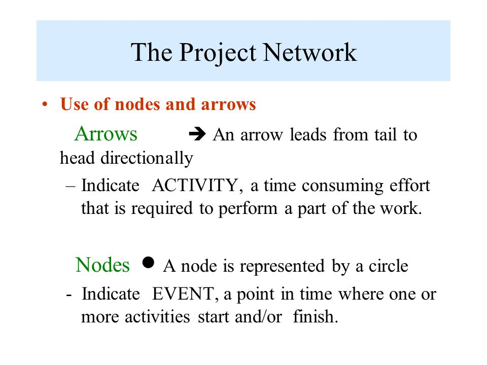 The Project Network Use of nodes and arrows