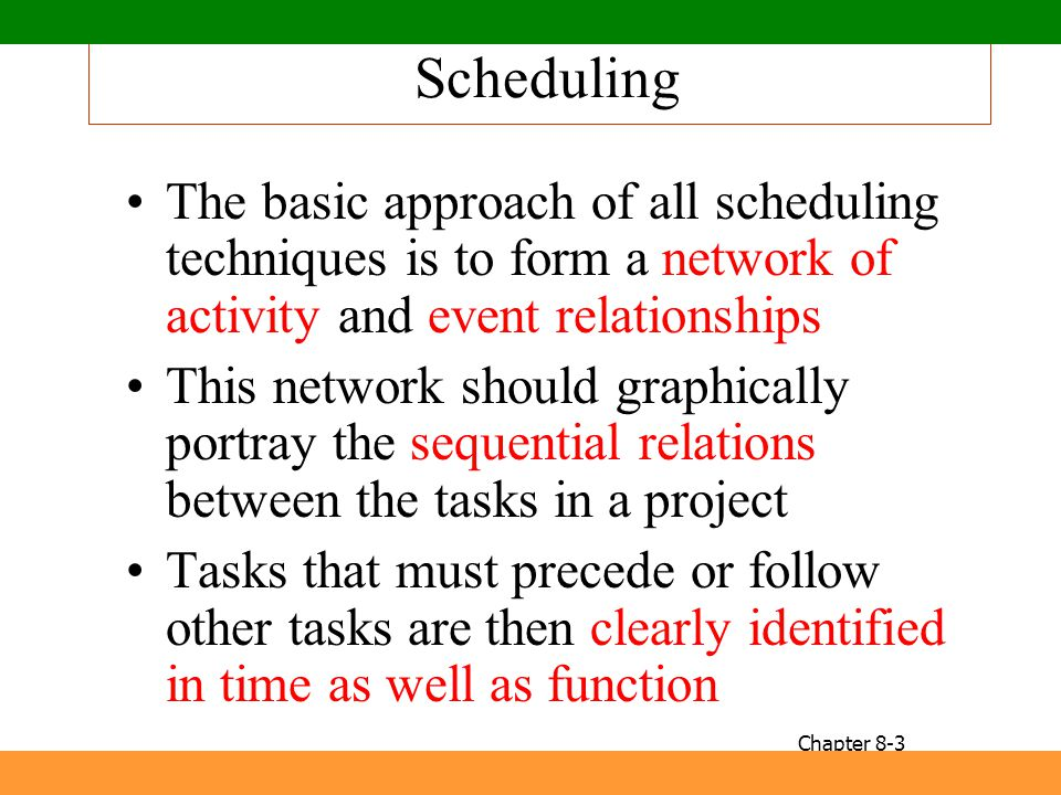 Scheduling The basic approach of all scheduling techniques is to form a network of activity and event relationships.