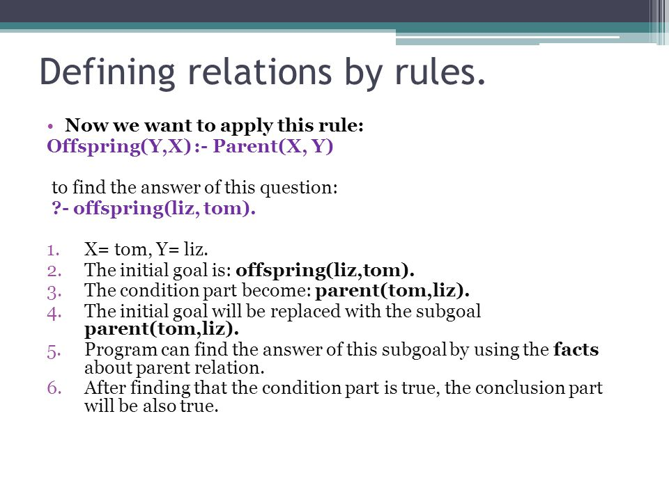 Defining relations by rules.