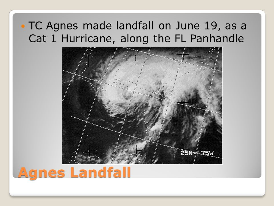 TC Agnes made landfall on June 19, as a Cat 1 Hurricane, along the FL Panhandle