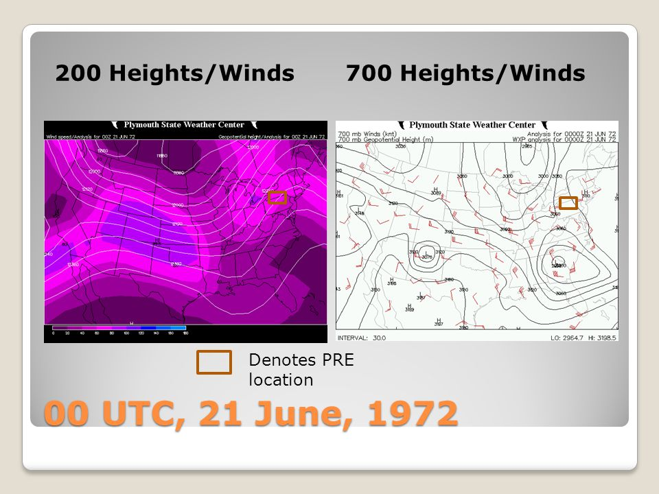 00 UTC, 21 June, 1972 200 Heights/Winds 700 Heights/Winds
