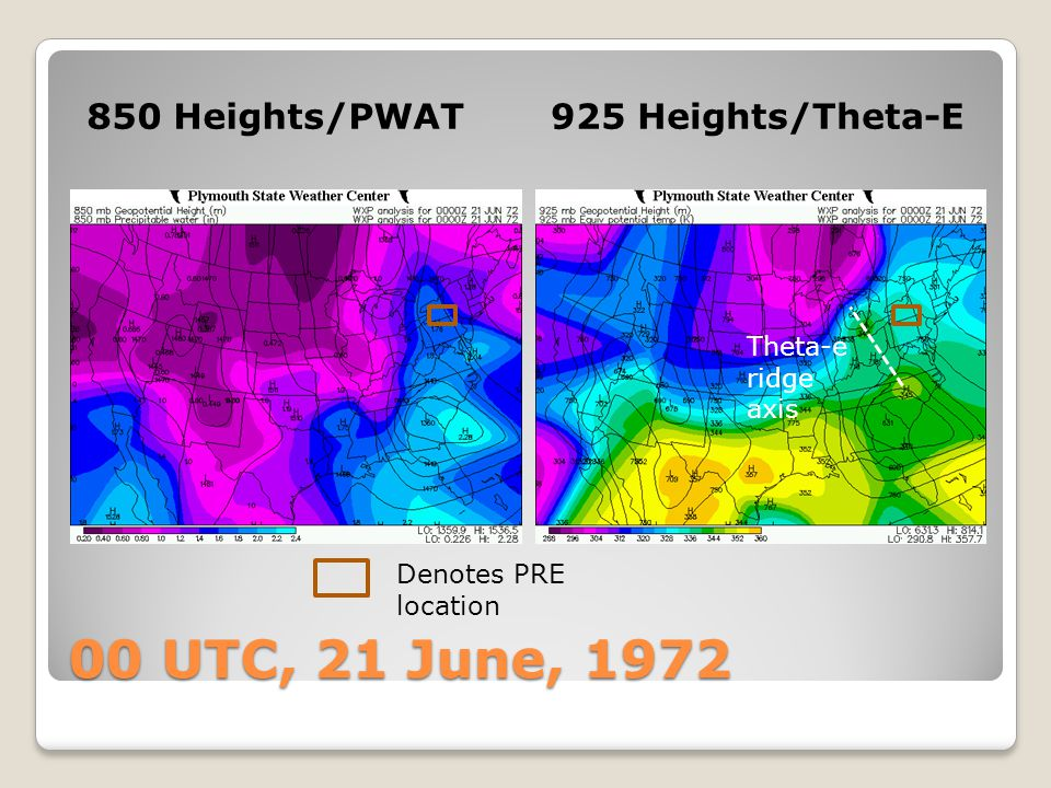 00 UTC, 21 June, 1972 850 Heights/PWAT 925 Heights/Theta-E