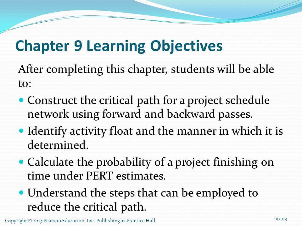 Chapter 9 Learning Objectives