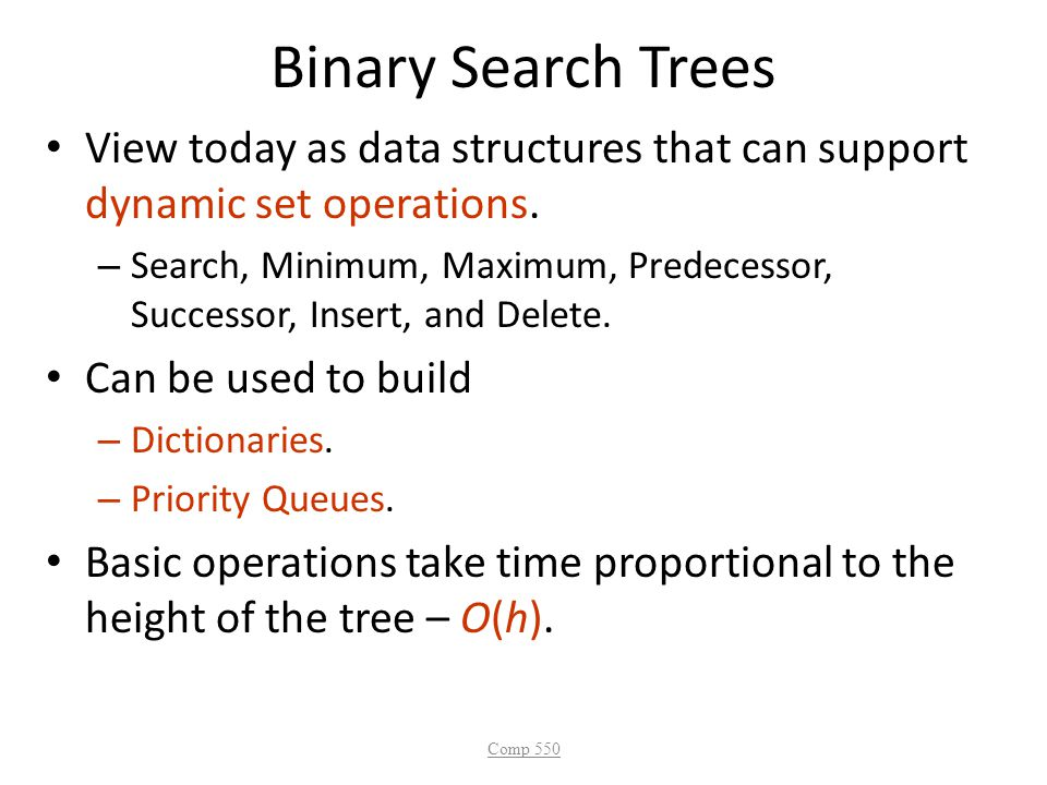 Binary Search Trees View today as data structures that can support dynamic set operations.
