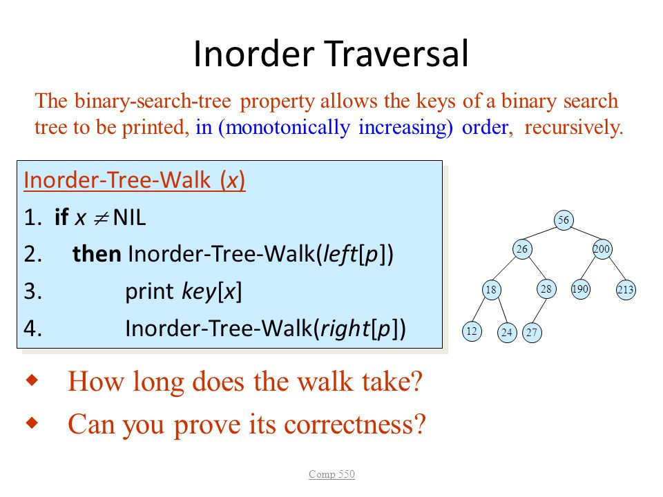 Inorder Traversal How long does the walk take