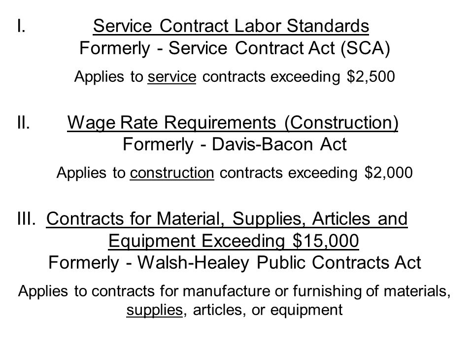 I. Service Contract Labor Standards