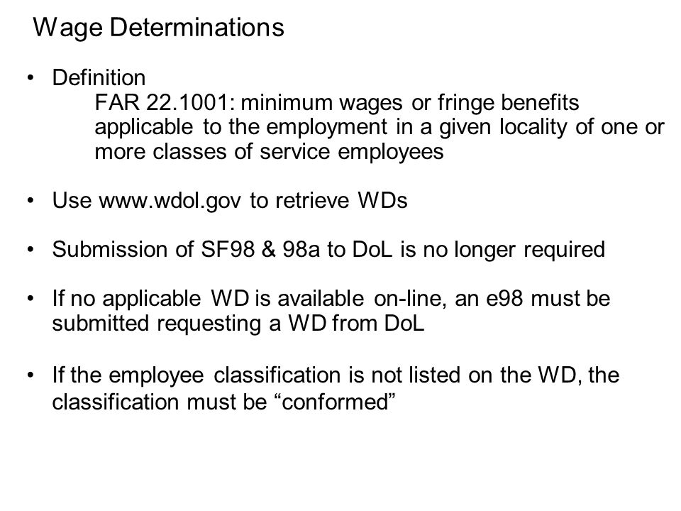 Wage Determinations Definition