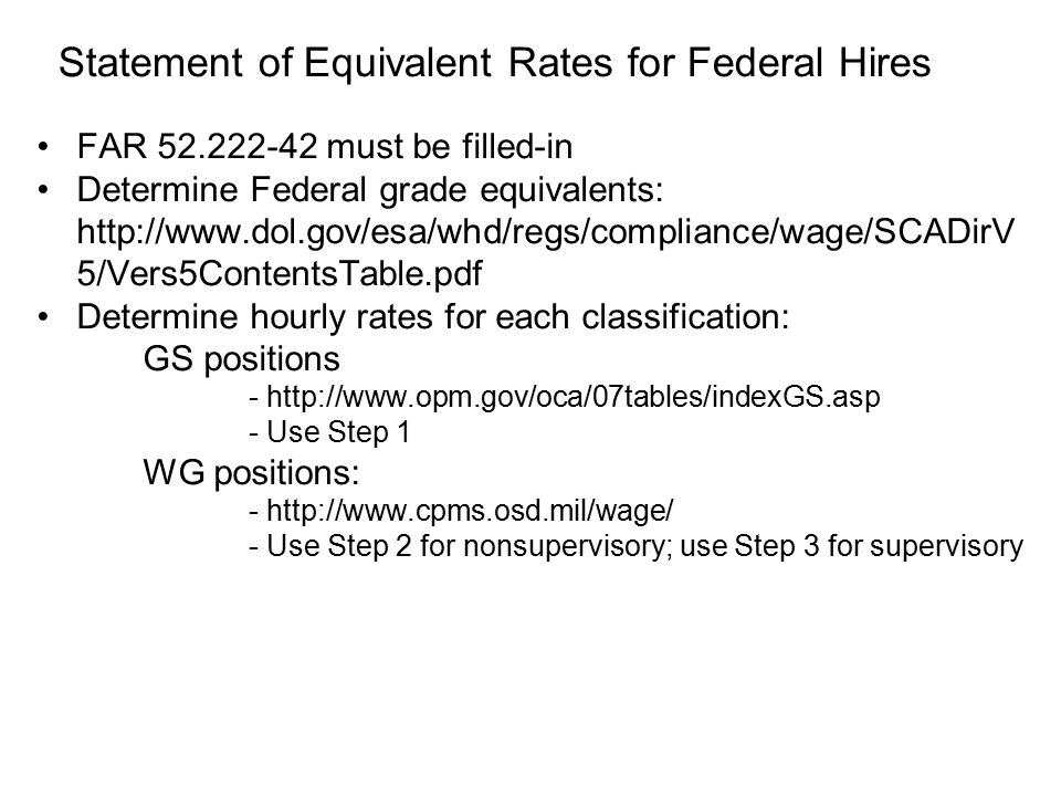 Statement of Equivalent Rates for Federal Hires