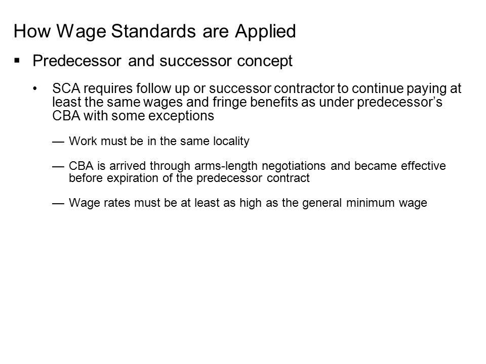How Wage Standards are Applied