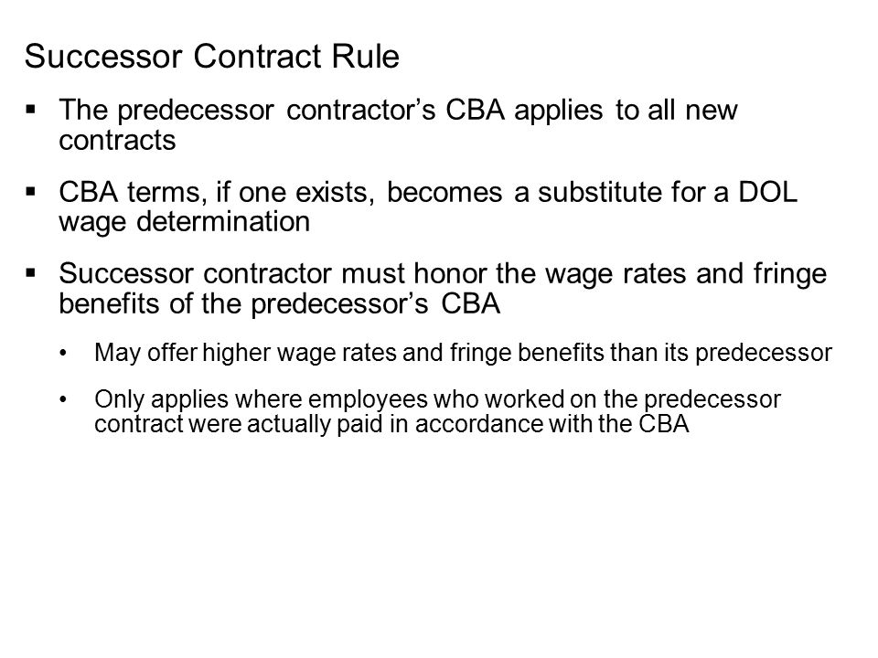 Successor Contract Rule