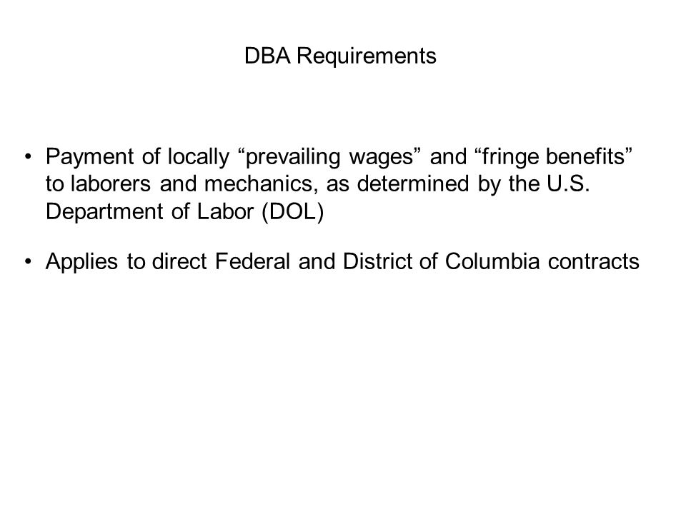 DBA Requirements