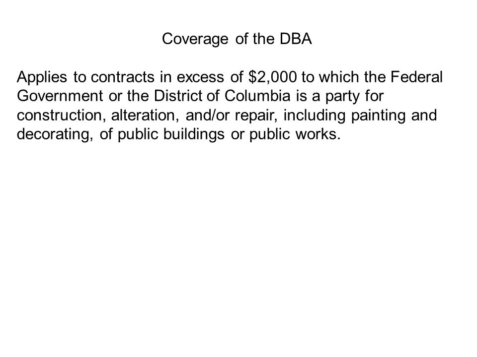 Coverage of the DBA