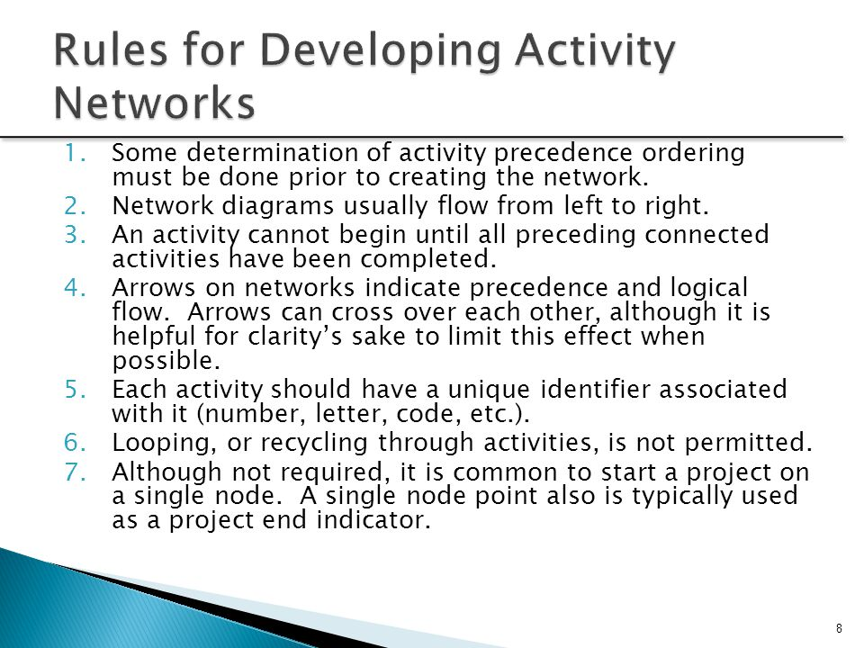 Rules for Developing Activity Networks