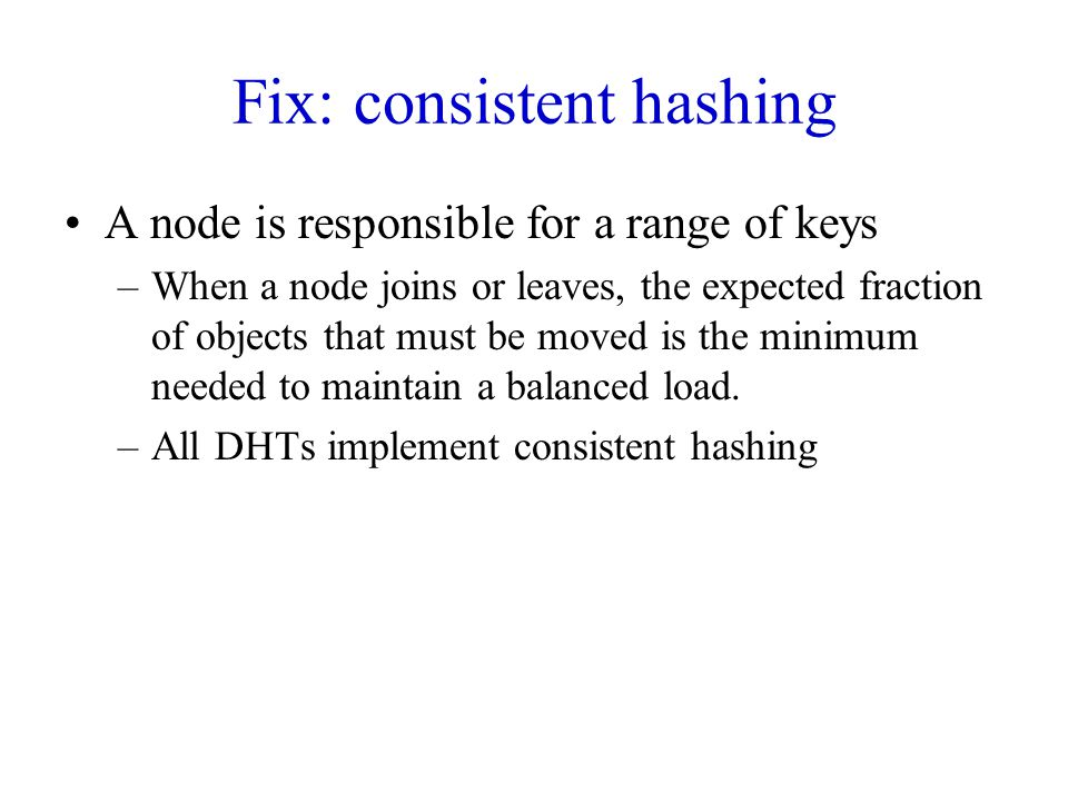 Fix: consistent hashing