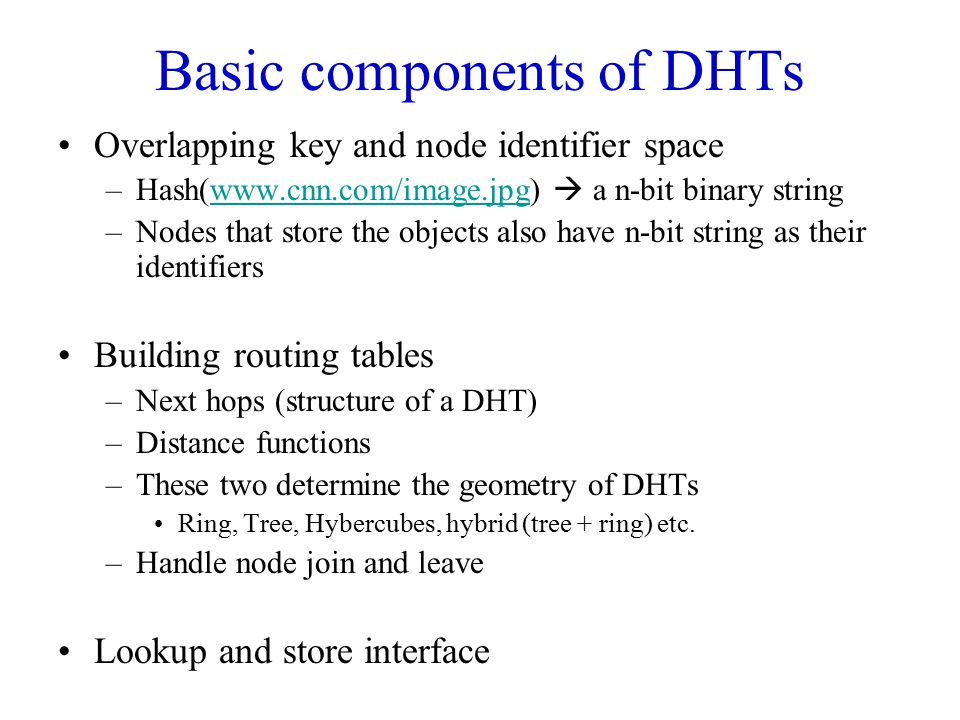 Basic components of DHTs
