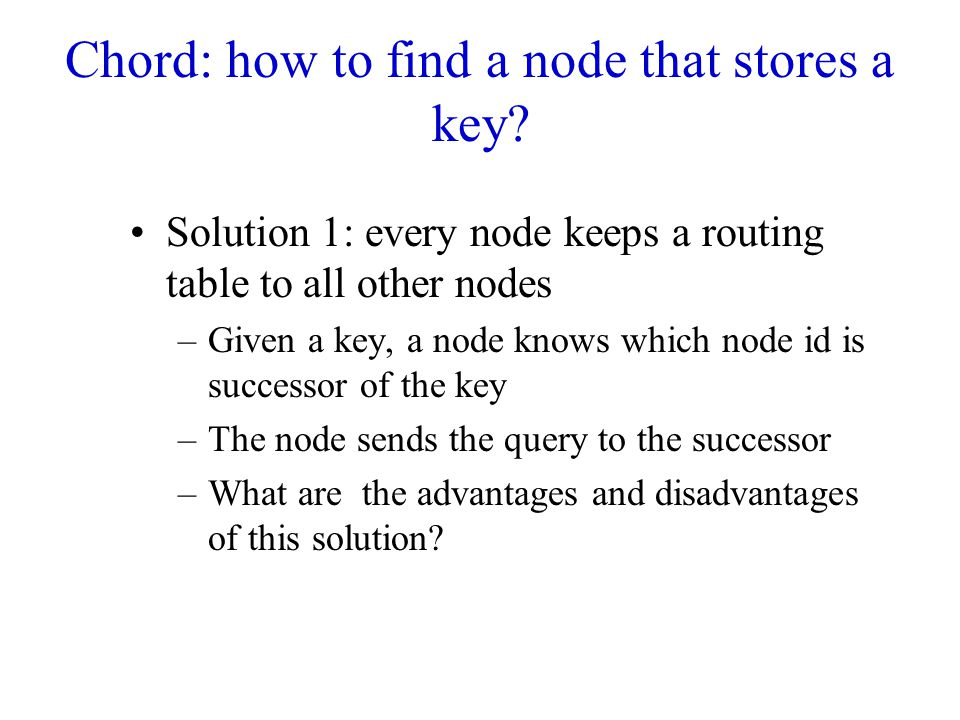 Chord: how to find a node that stores a key